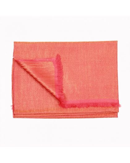 Angela Jey Metallic Dorukha Pashmina Stole - Coral and Gold