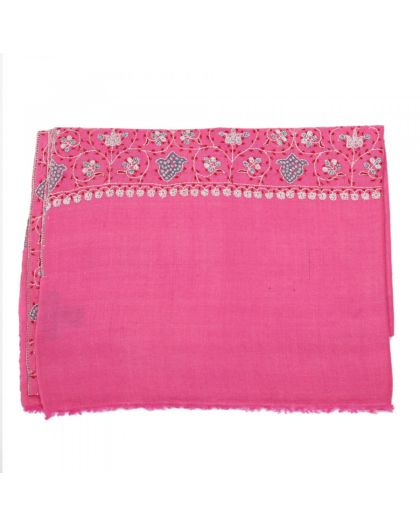 Angela Jey Embroidered Pashmina Stole - Bubblegum Pink