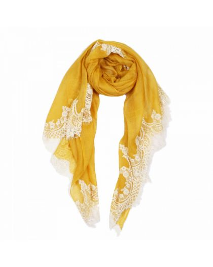 Angela Jey Lace Sheer Pashmina Scarf All Over - Honey