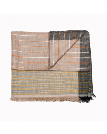 Angela Jey Pattern Pashmina Stole - Natural Stripes