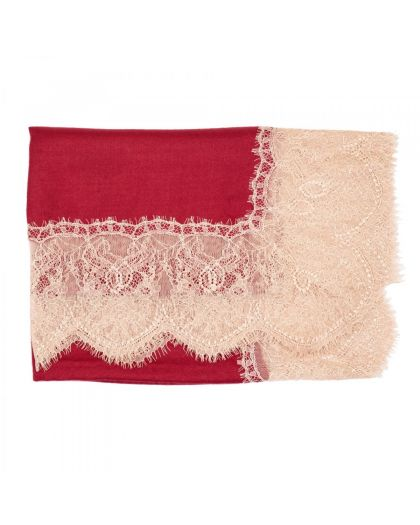Angela Jey Lace Pashmina Scarf All Over - Crimson Red