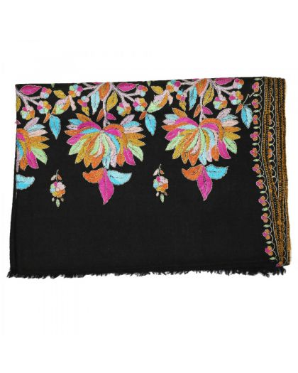 Angela Jey Embroidered Handloom Pashmina Stole - Black Gold